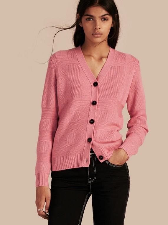 Cardigan in lana e cashmere lavorato a maglia con motivo tartan Rosa Ortensia Mélange