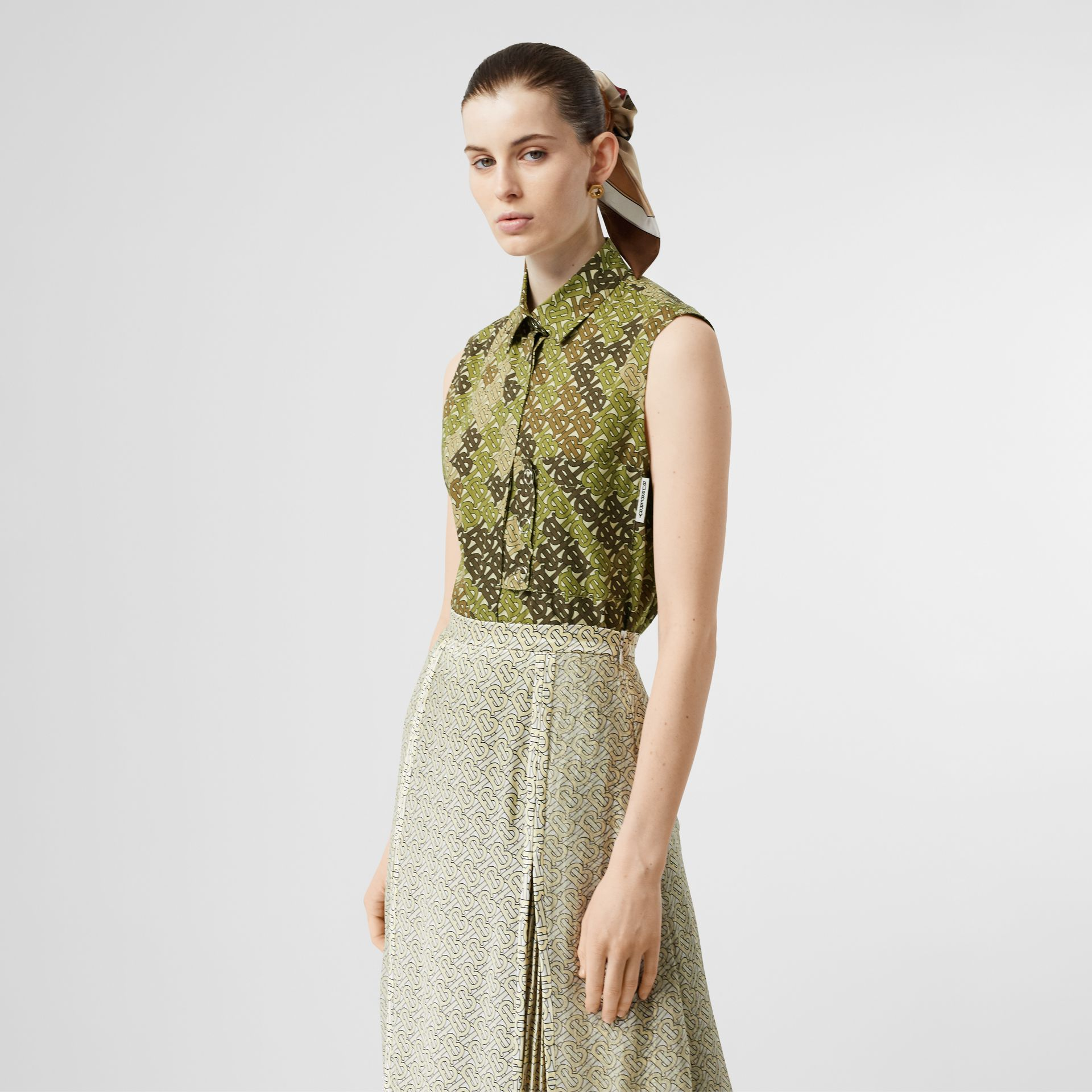 Sleeveless Monogram Print Cotton Poplin Shirt in Khaki Green - Women | Burberry - gallery image 0
