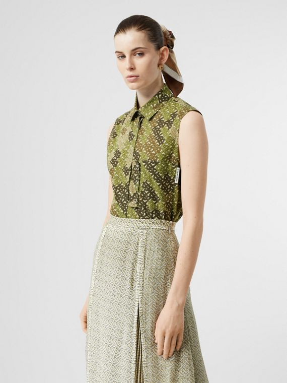 Sleeveless Monogram Print Cotton Poplin Shirt in Khaki Green