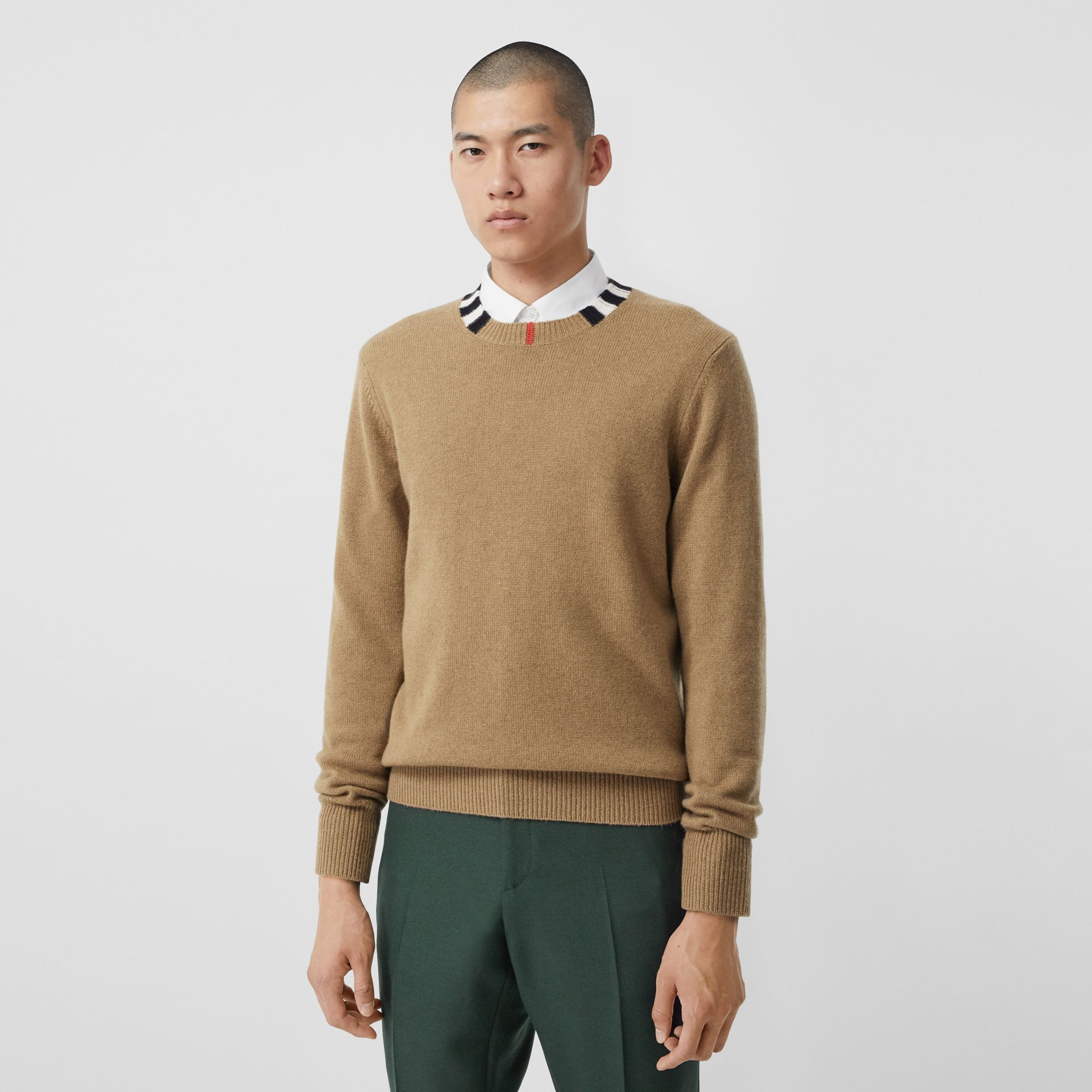 Icon Stripe Trim Cashmere Sweater in Camel - Men | Burberry - gallery image 0