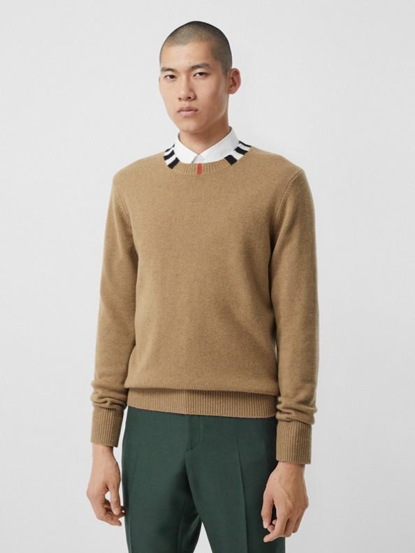 Icon Stripe Trim Cashmere Sweater in Camel