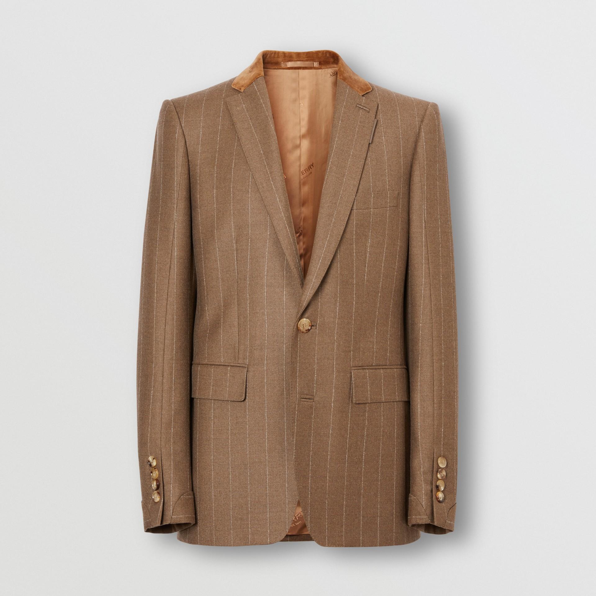 Classic Fit Velvet Trim Wool Cashmere Tailored Jacket in Dark Tan - Men | Burberry - gallery image 2