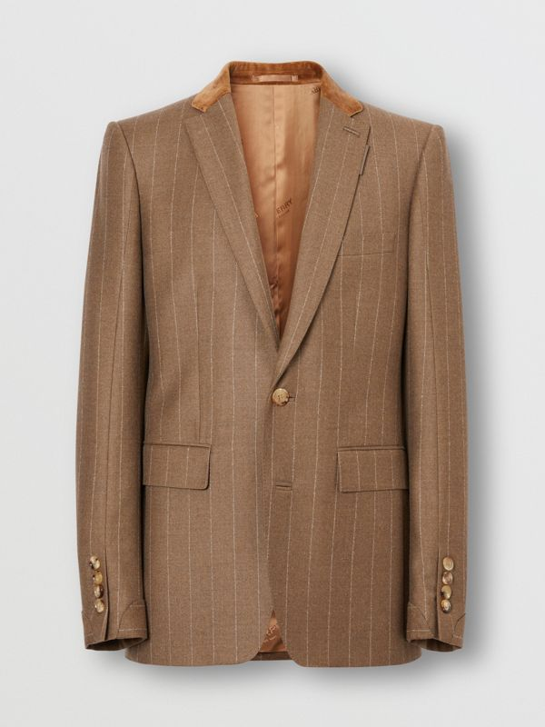 Classic Fit Velvet Trim Wool Cashmere Tailored Jacket in Dark Tan - Men | Burberry - cell image 2