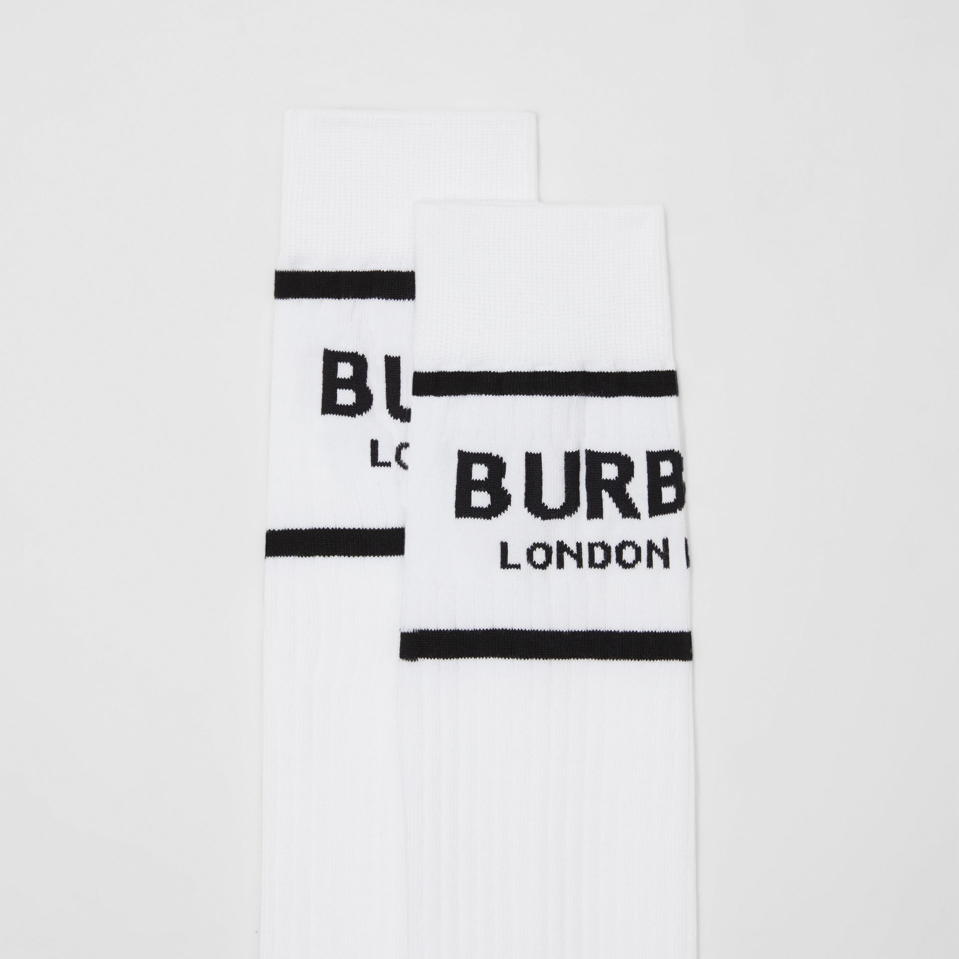 Logo Intarsia Cotton Blend Socks in White | Burberry - gallery image 1
