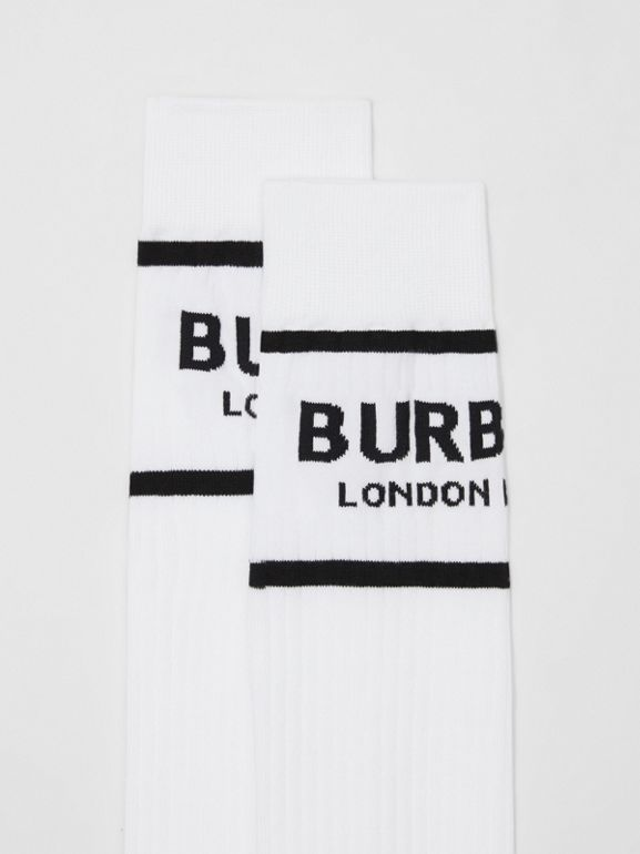 Logo Intarsia Cotton Blend Socks in White | Burberry - cell image 1