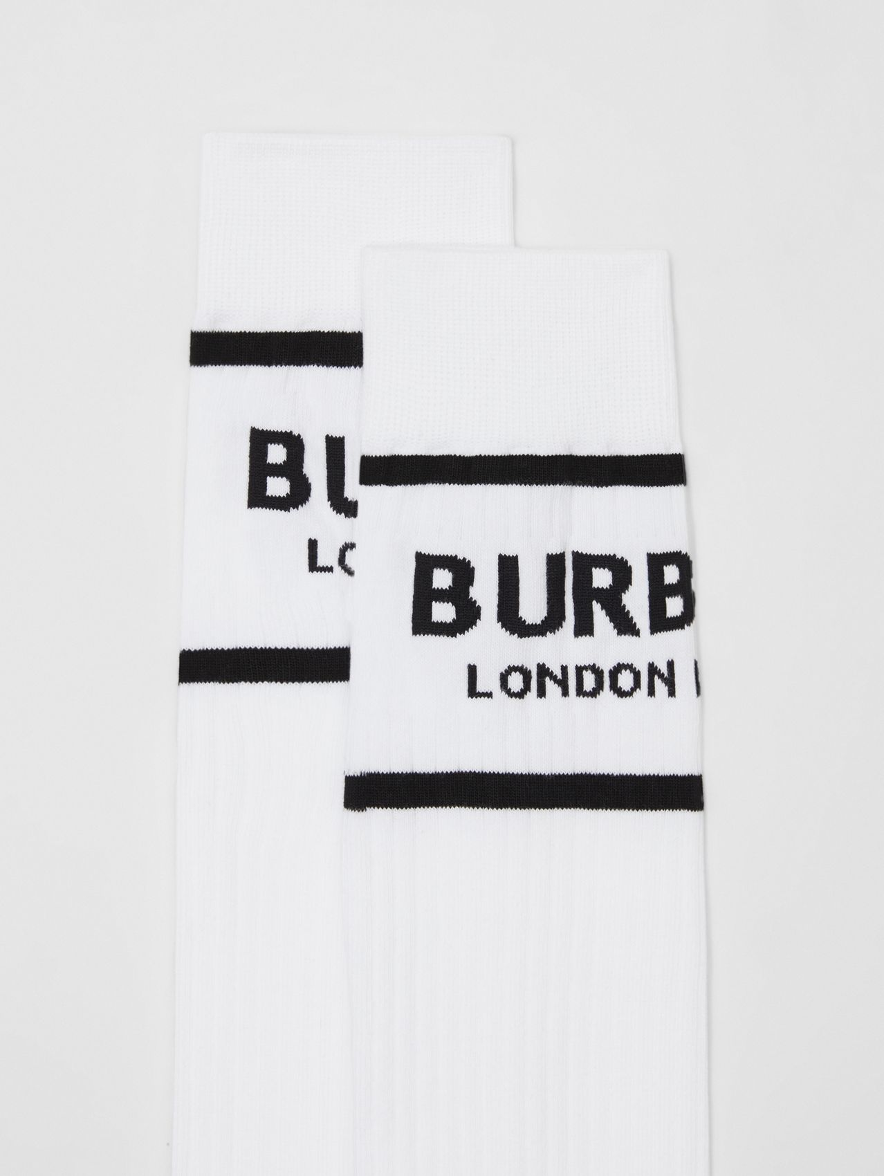 Logo Intarsia Cotton Blend Socks (White)