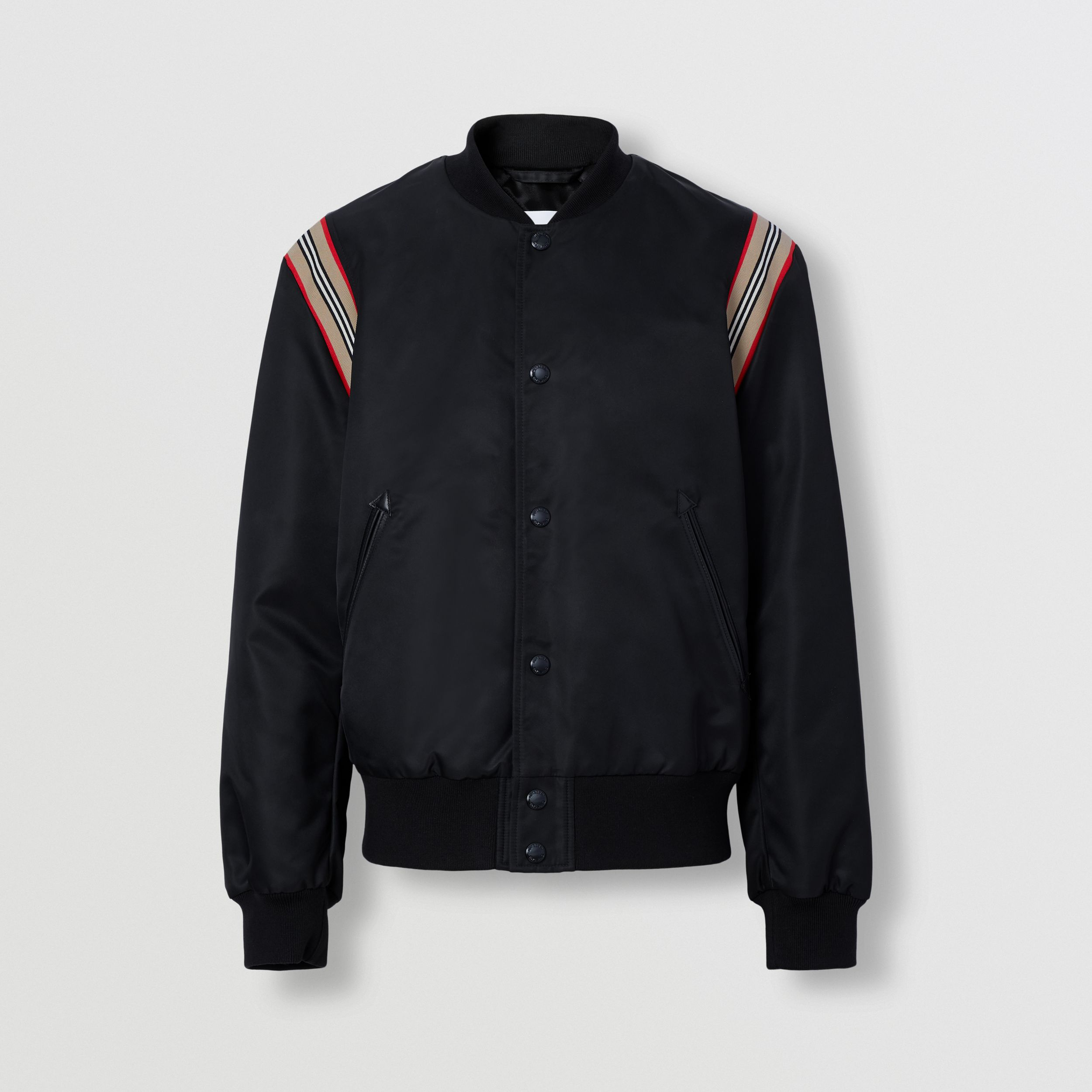 Icon Stripe Trim Bomber Jacket in Black - Men | Burberry - 4