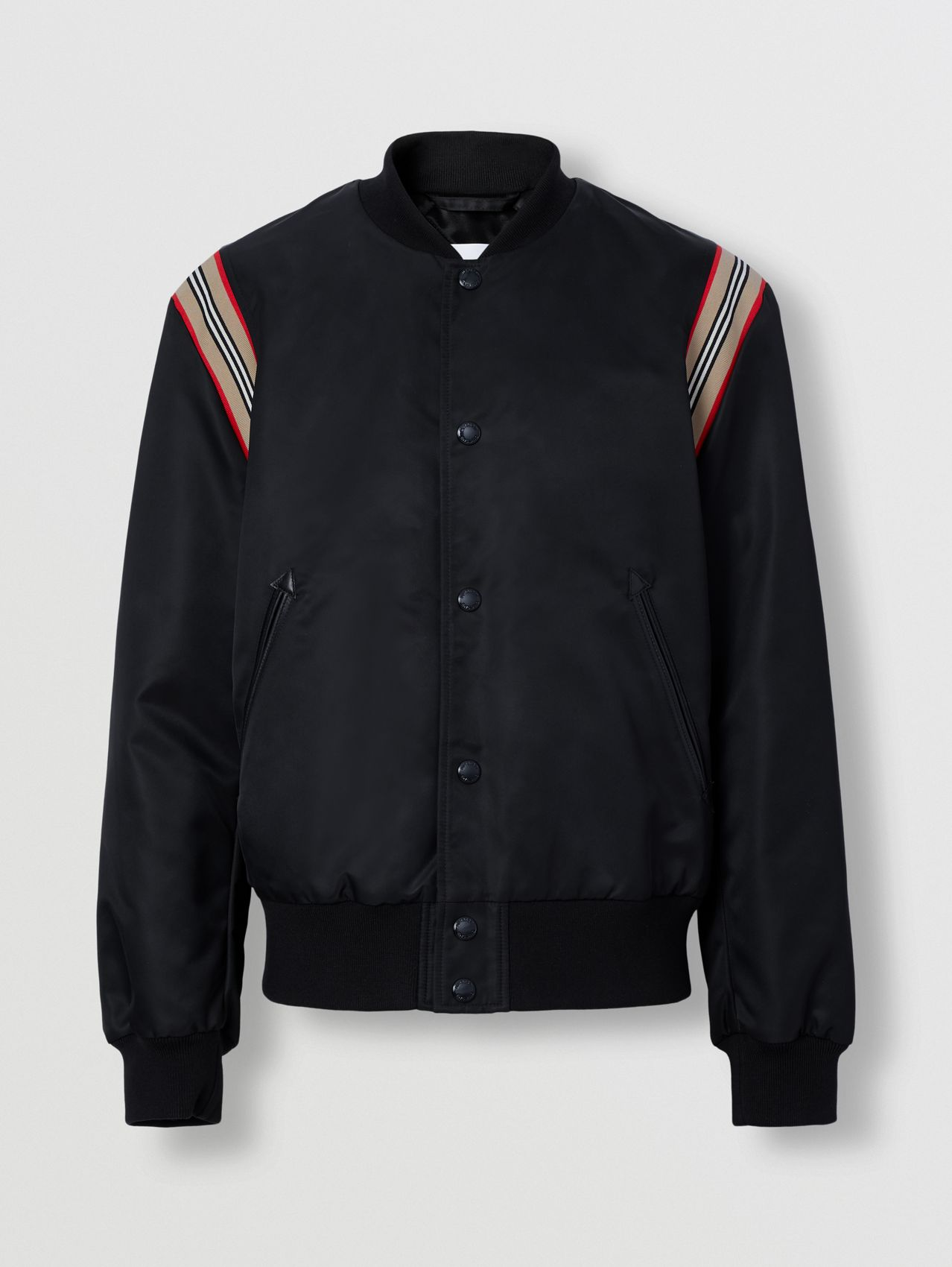Icon Stripe Trim Bomber Jacket in Black