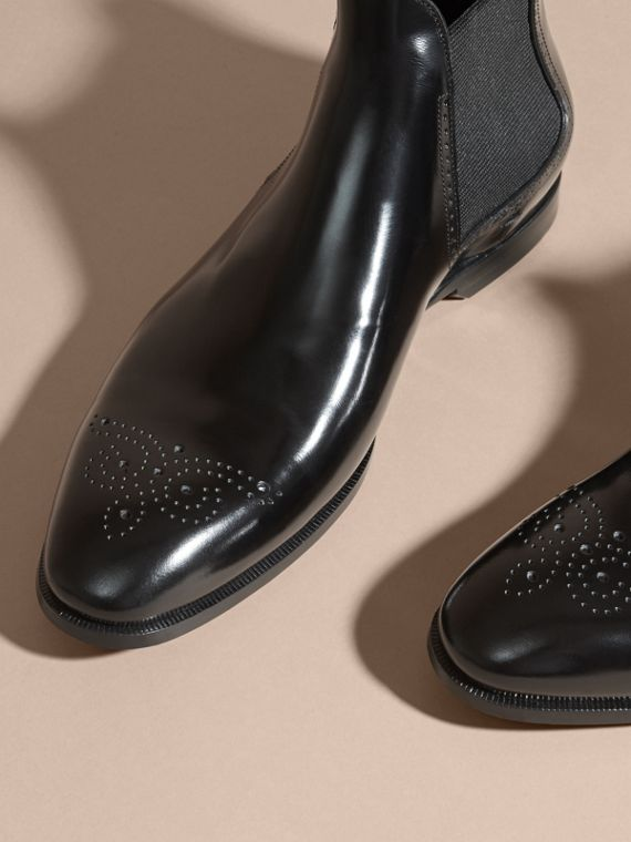 Black Perforated Detail Leather Chelsea Boots Black - cell image 2