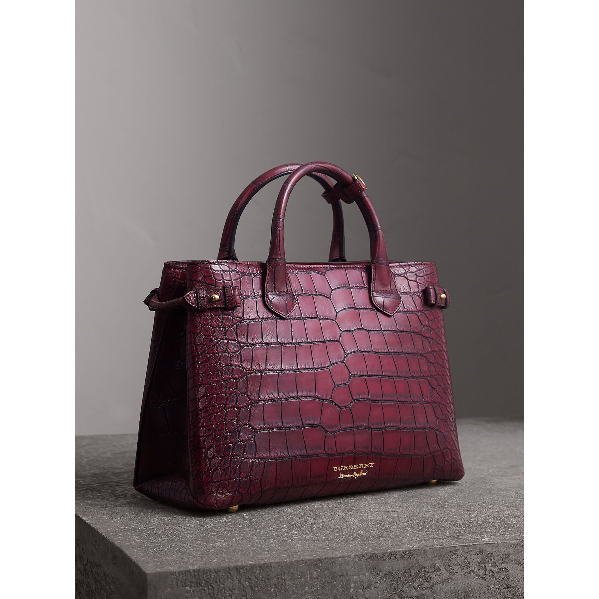 The Medium Banner in Alligator in Elderberry - Women | Burberry - gallery image 0