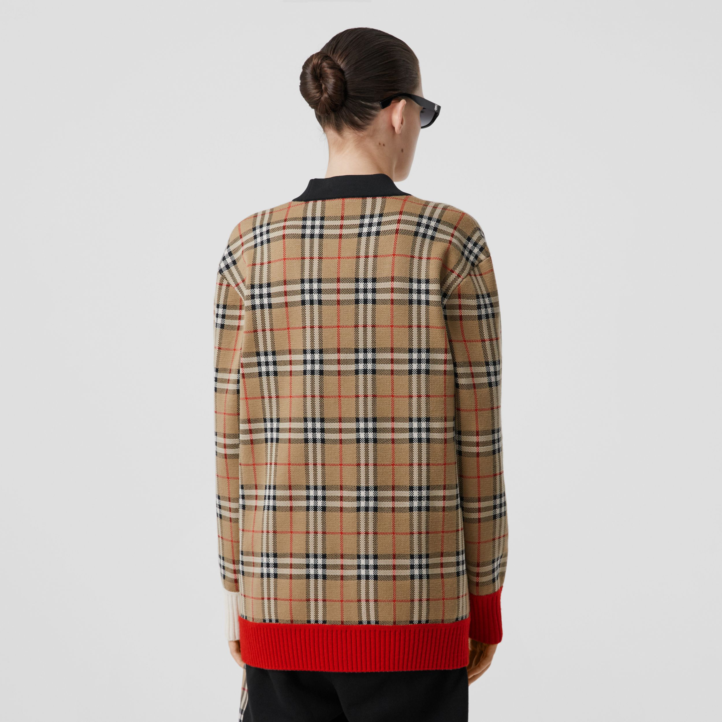 Vintage Check Merino Wool Blend Jacquard Cardigan in Archive Beige - Women | Burberry - 3