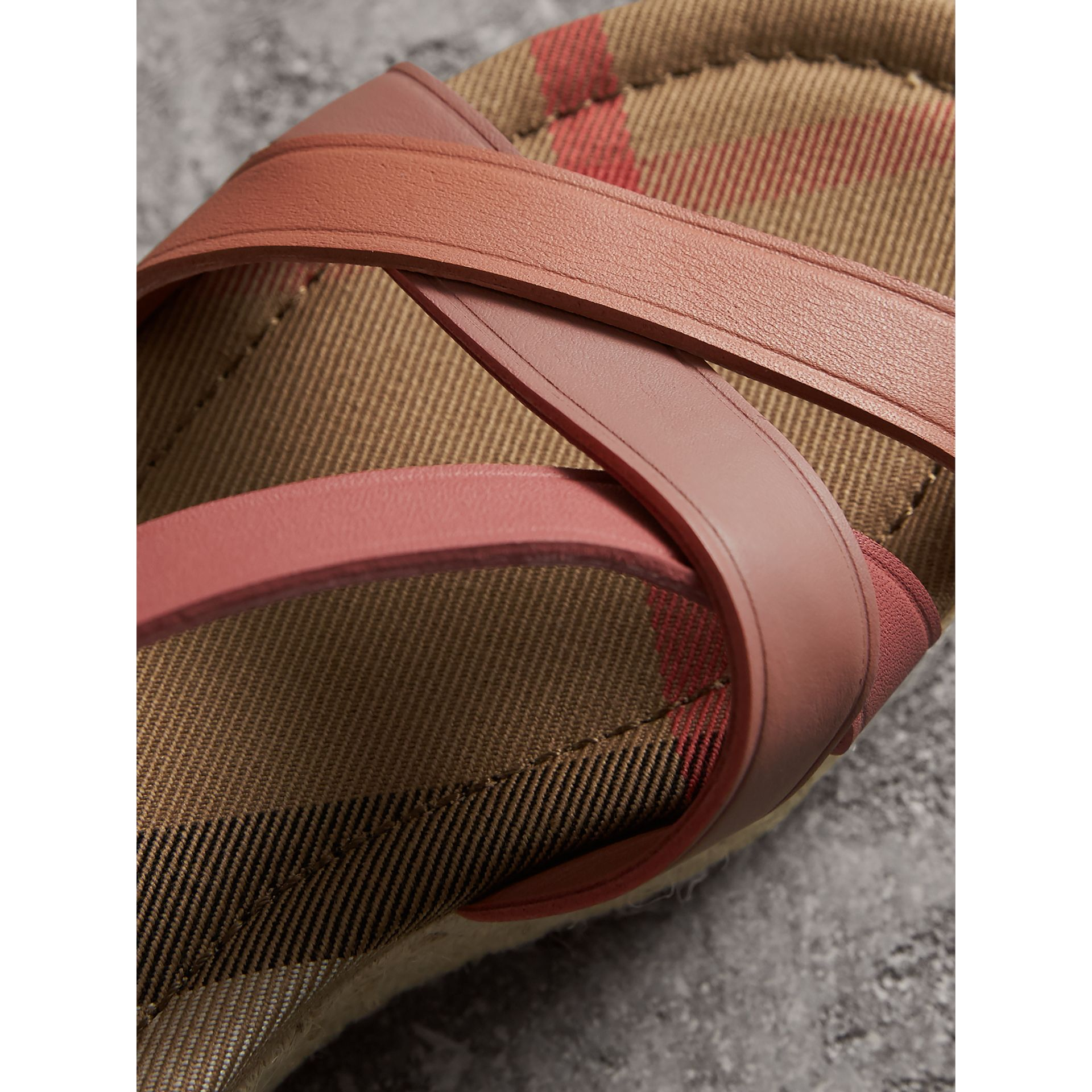 Two-tone Leather Espadrille Sandals in Dusty Pink - Women | Burberry United Kingdom - gallery image 2