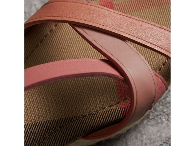 Two-tone Leather Espadrille Sandals in Dusty Pink - Women | Burberry United Kingdom - cell image 1