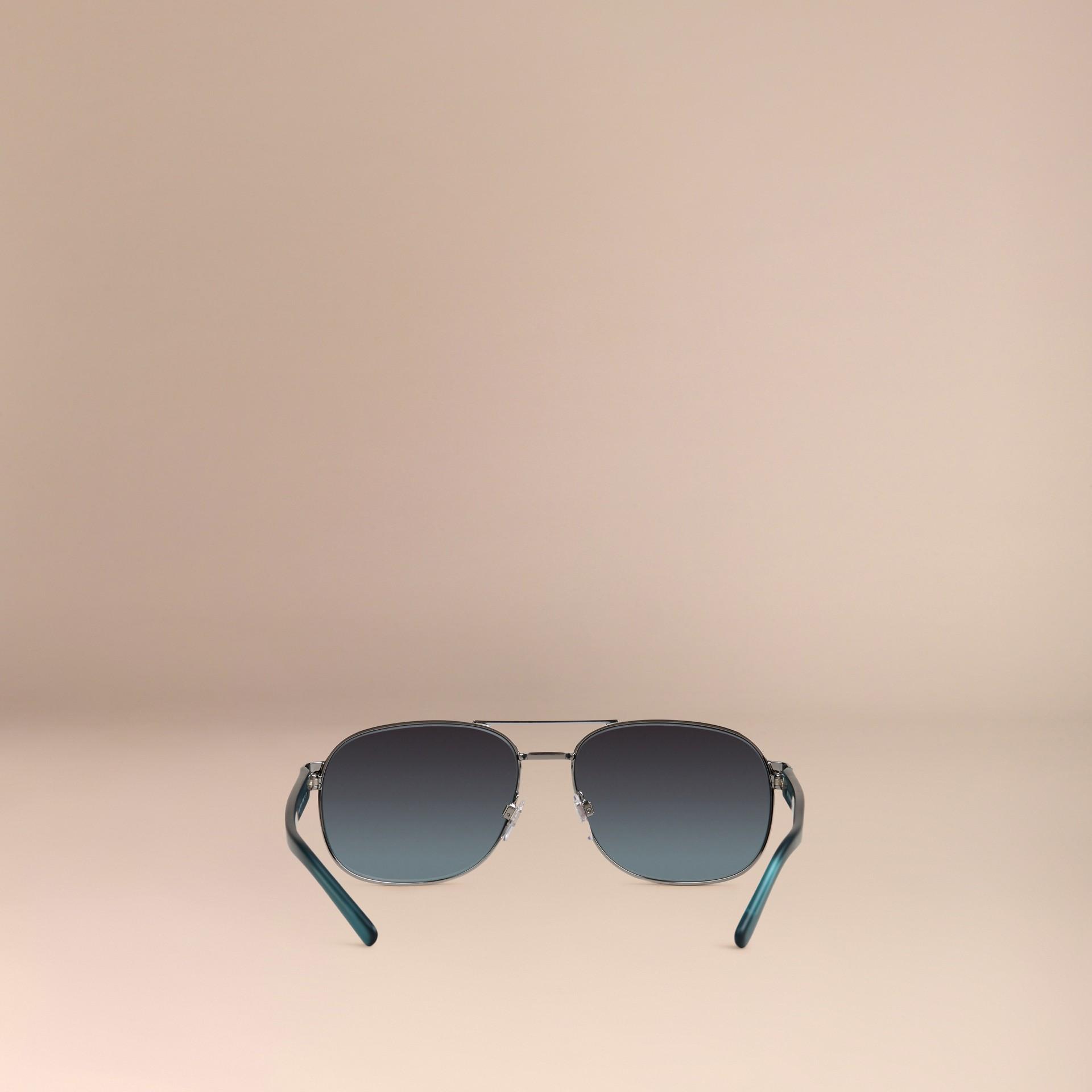 Blue Square Frame Aviator Polarised Sunglasses Blue - gallery image 4