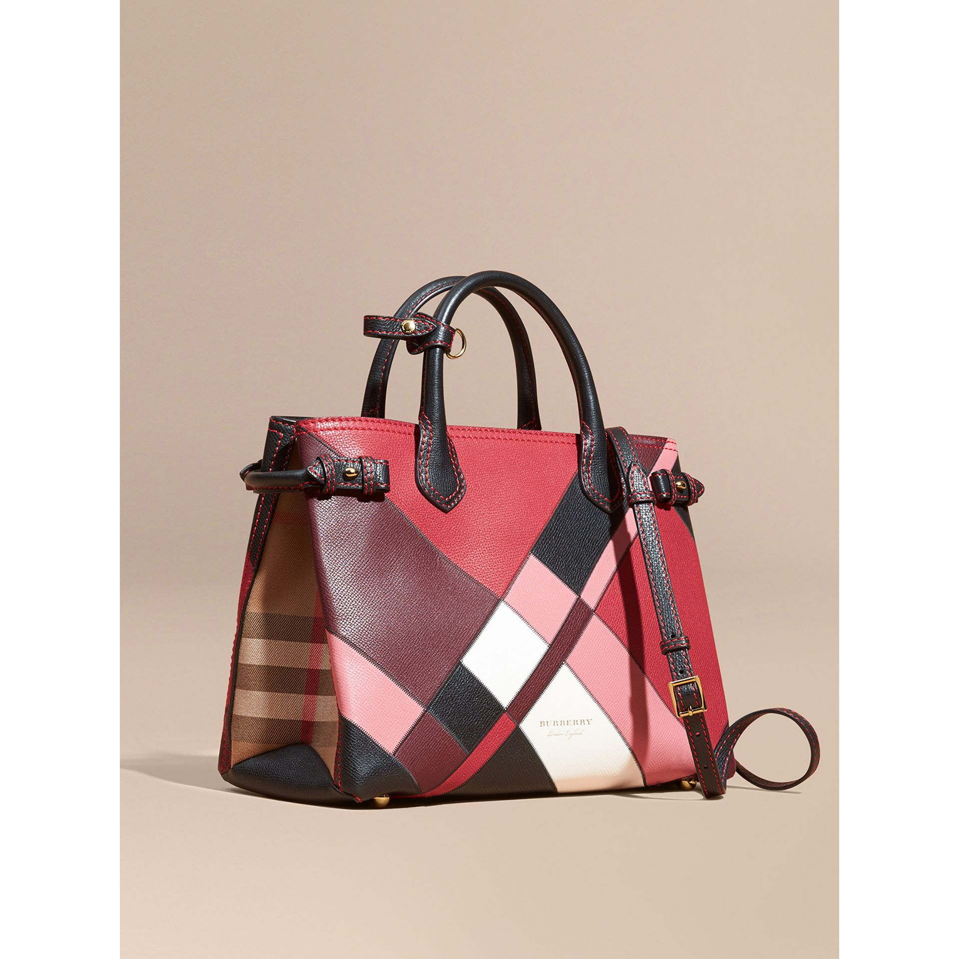 The Medium Banner in Colour Block Leather in Pink - Women | Burberry Canada - gallery image 0