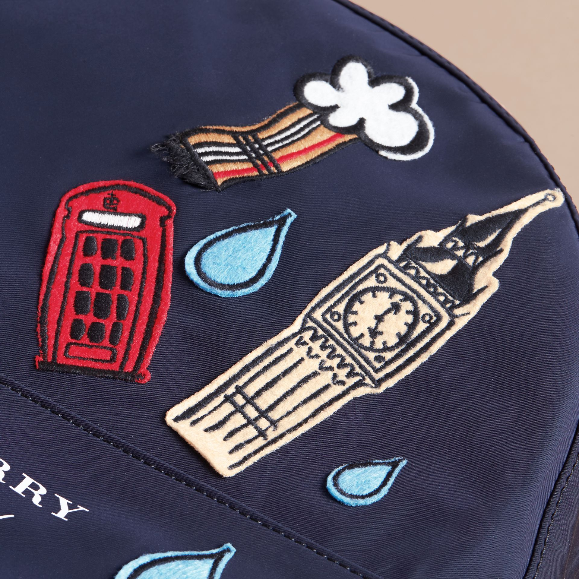 London Icons Appliqué Lightweight Mini Backpack in Ink | Burberry - gallery image 2