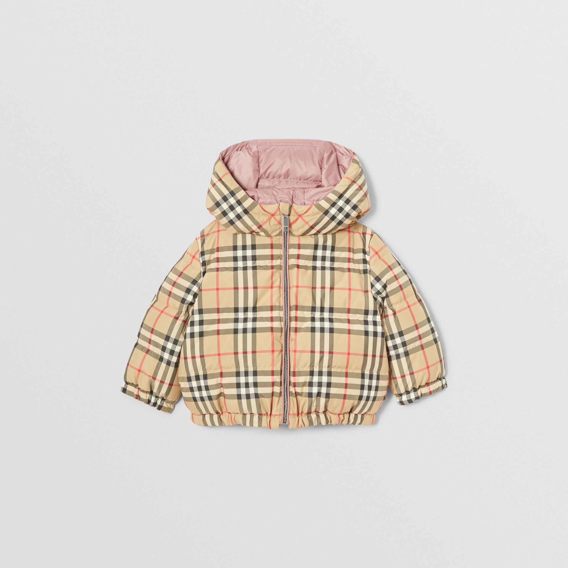 Reversible Vintage Check Down-filled Puffer Jacket in Lavender Pink - Children | Burberry United Kingdom - gallery image 3