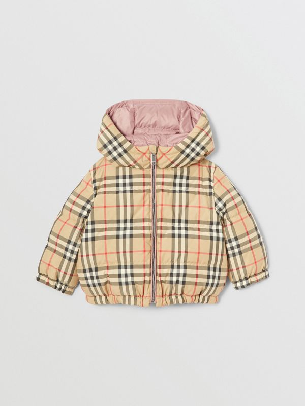 Reversible Vintage Check Down-filled Puffer Jacket in Lavender Pink - Children | Burberry - cell image 3