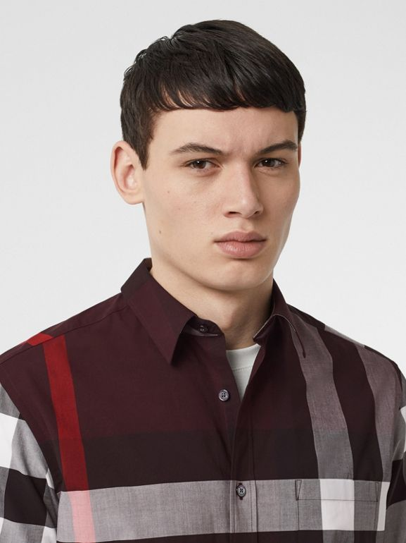 Short-sleeve Check Stretch Cotton Shirt in Deep Claret - Men | Burberry United Kingdom - cell image 1