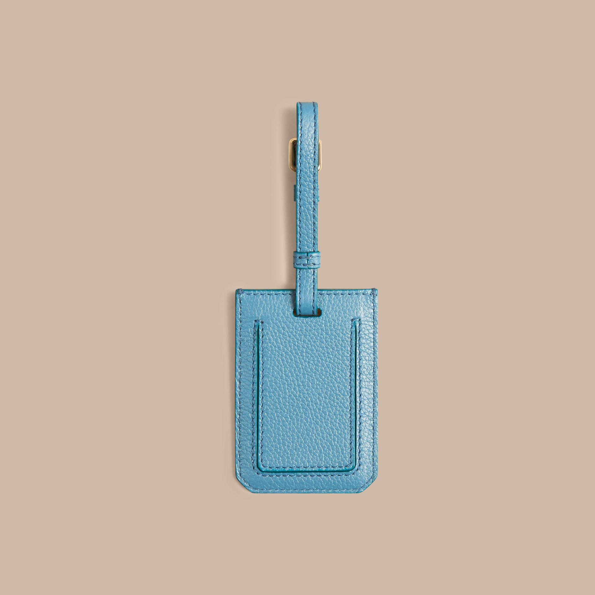 Bright mineral blue Grainy Leather Luggage Tag Bright Mineral Blue - gallery image 2