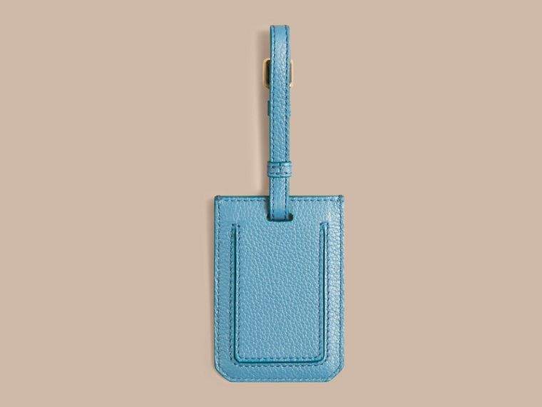 Bright mineral blue Grainy Leather Luggage Tag Bright Mineral Blue - cell image 1