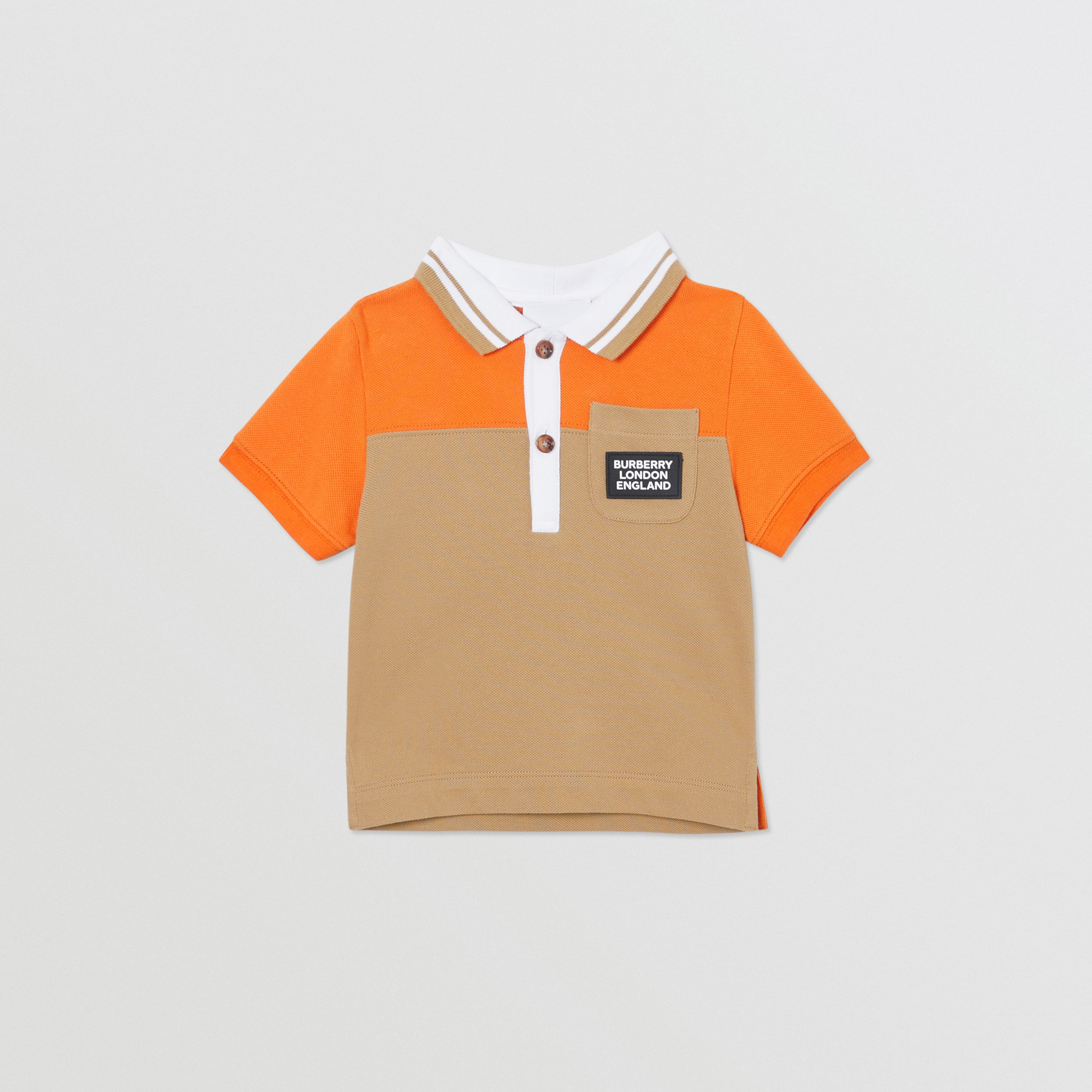 Colour Block Cotton Piqué Polo Shirt in Bright Mandarin - Children | Burberry - 1