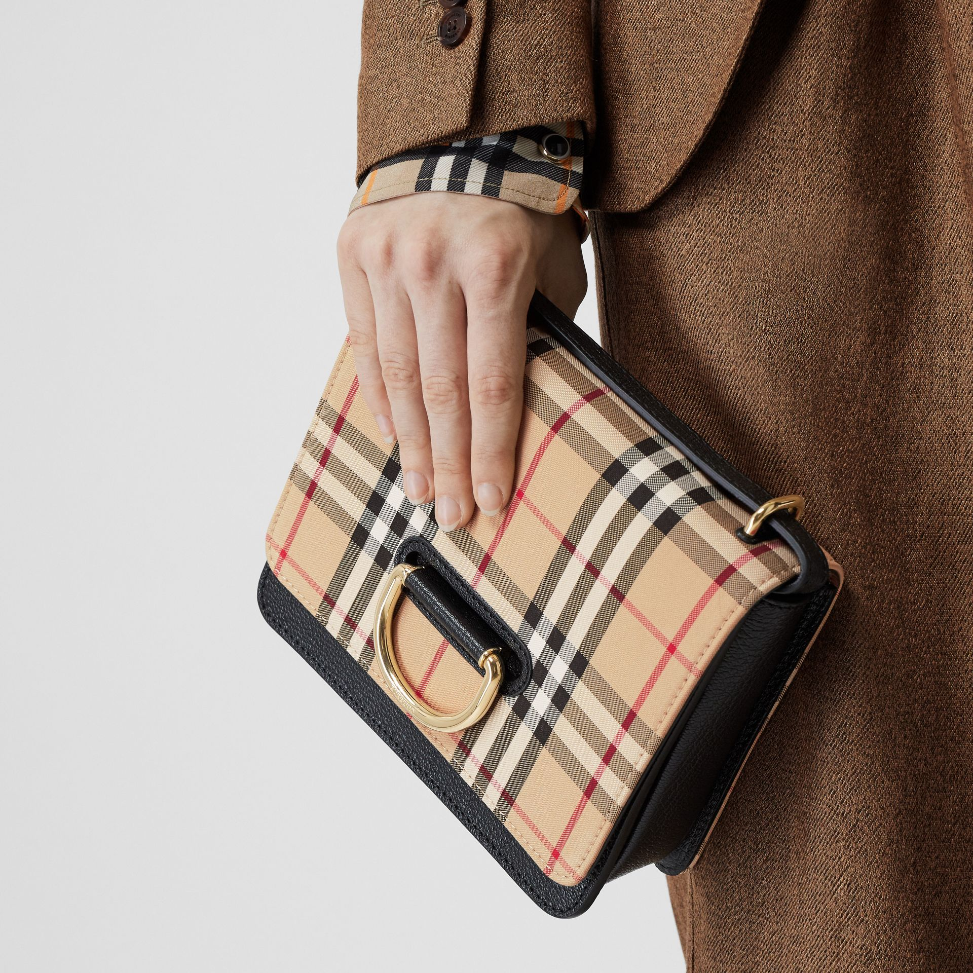 The Small Vintage Check and Leather D-ring Bag in Black - Women | Burberry - gallery image 3