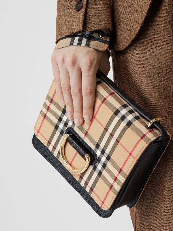 The Small Vintage Check and Leather D-ring Bag in Black - Women | Burberry United States - cell image 3