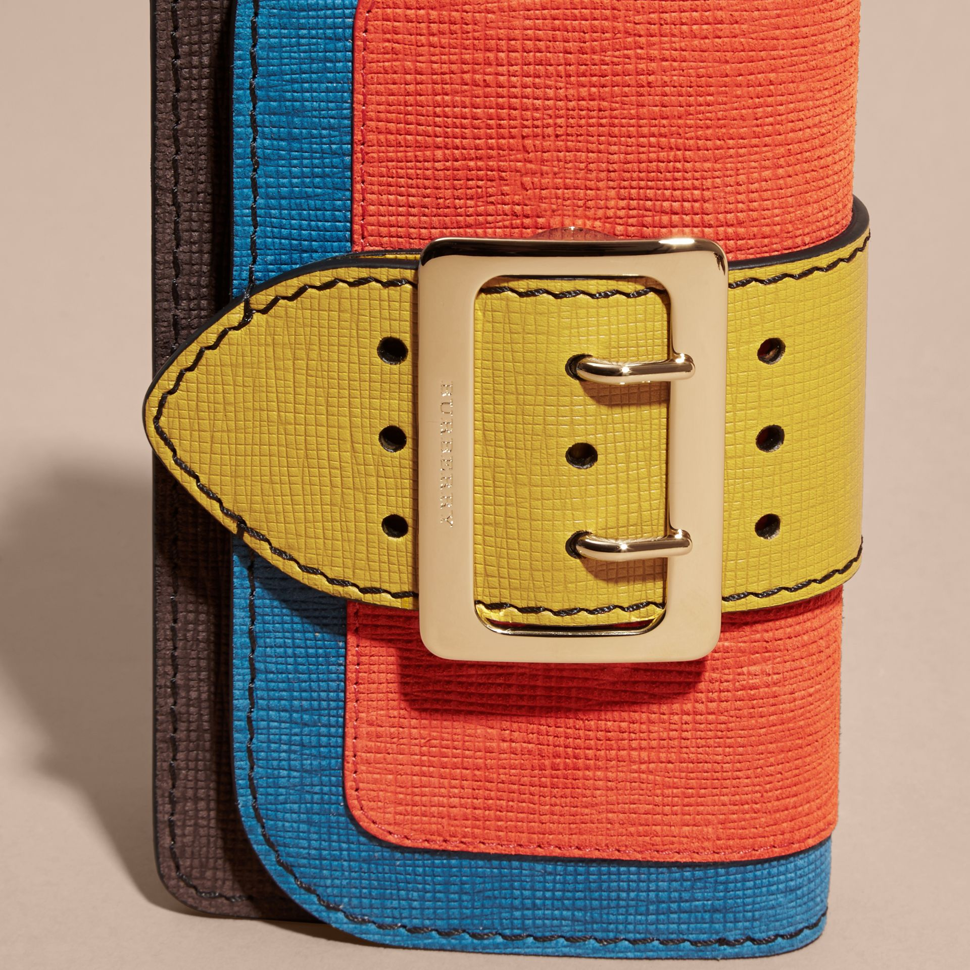 The Small Buckle Bag in Textured Leather Orange - gallery image 2