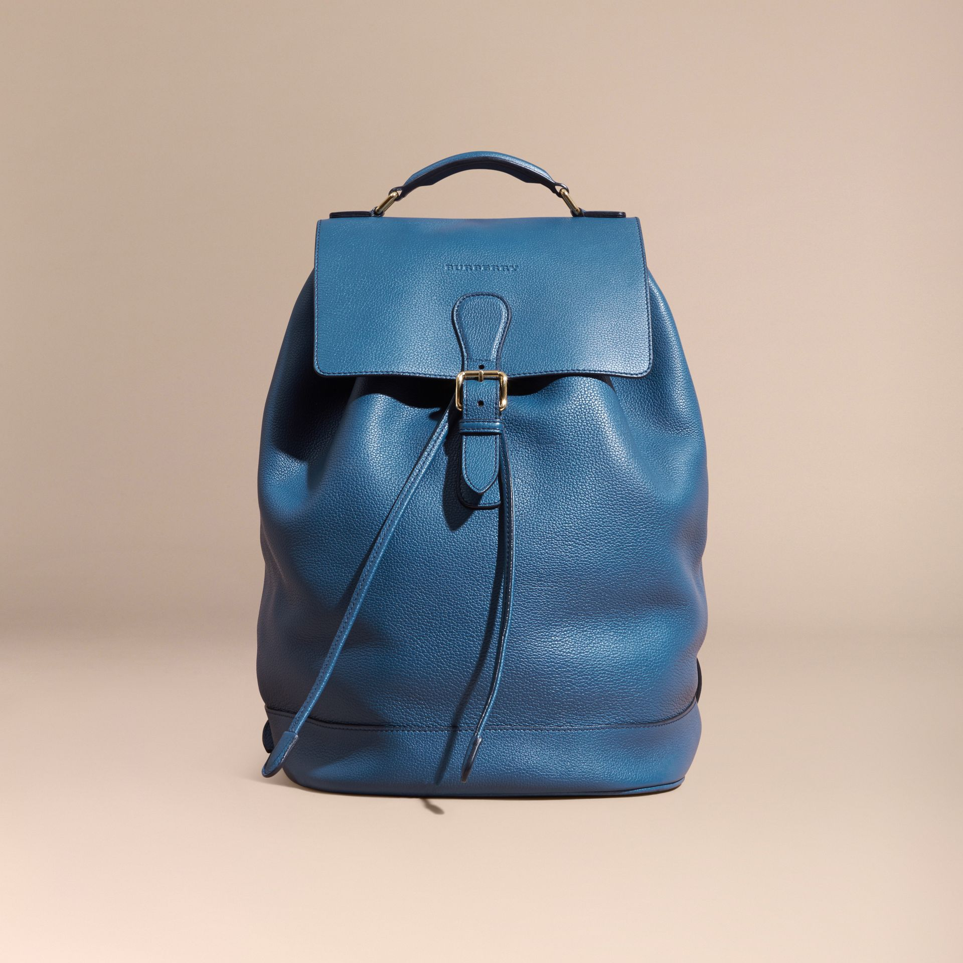 Mineral blue Grainy Leather Backpack Mineral Blue - gallery image 9