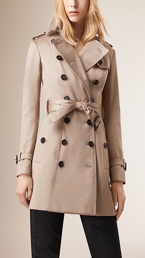 Stone Cotton Sateen Trench Coat - Image 1