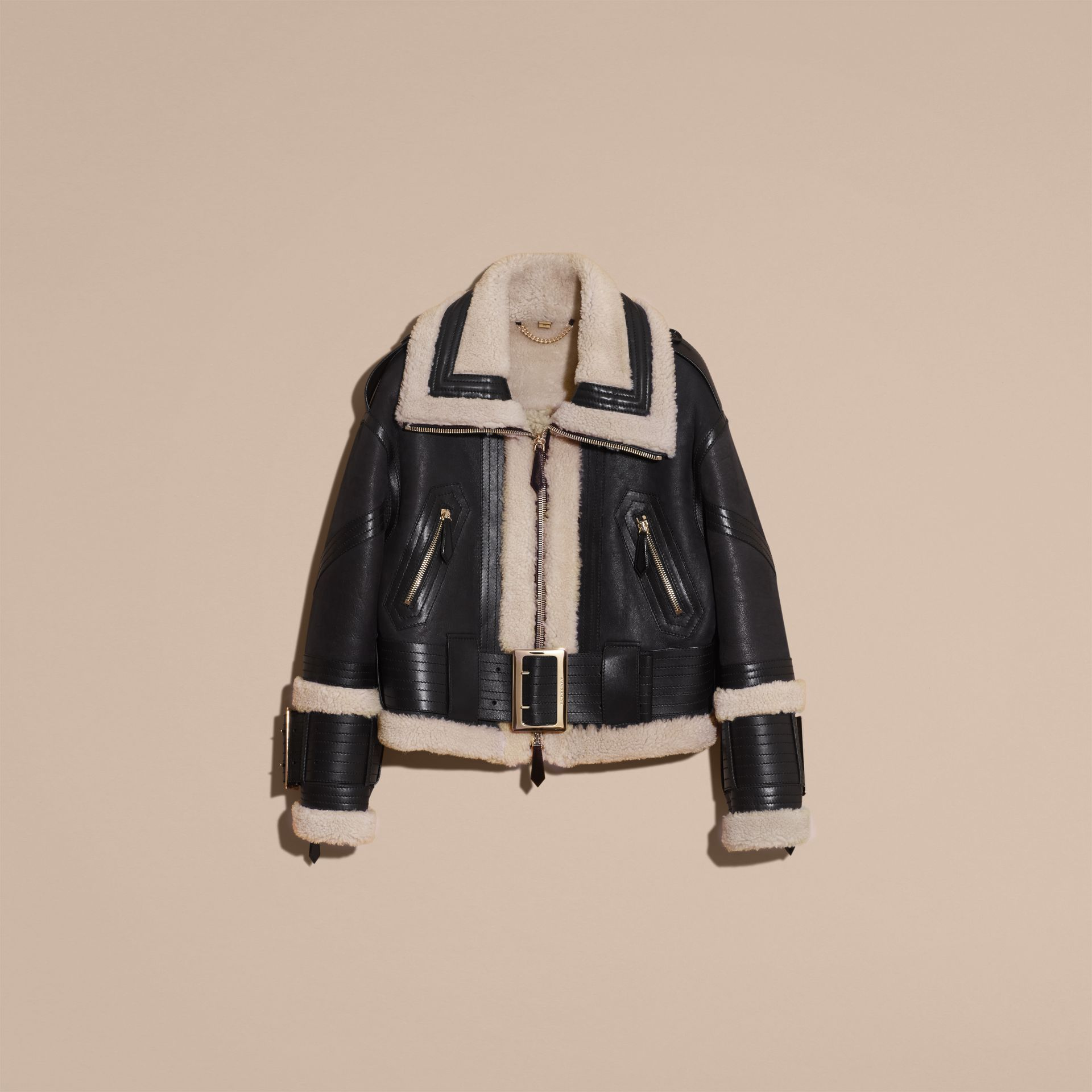 Black/ecru Shearling Aviator Jacket with Oversize Buckles - gallery image 4
