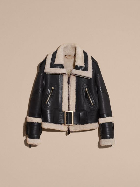 Black/ecru Shearling Aviator Jacket with Oversize Buckles - cell image 3