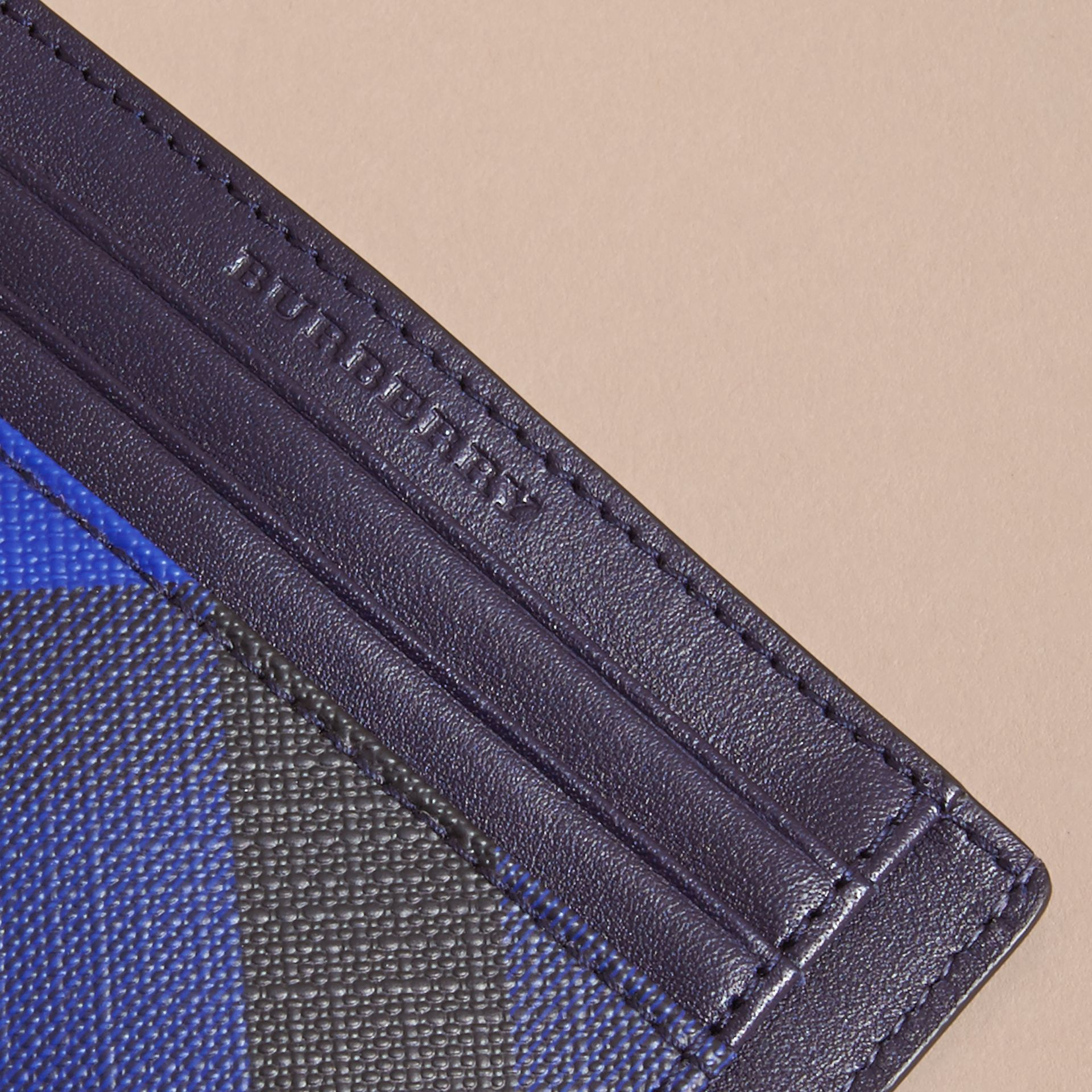 London Check Card Case in Bright Lapis - Men | Burberry - gallery image 2
