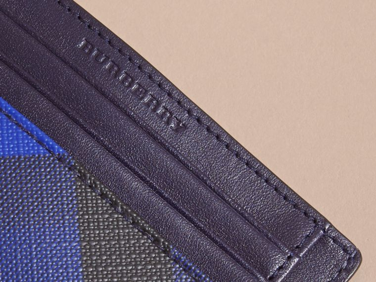 London Check Card Case in Bright Lapis - Men | Burberry - cell image 1
