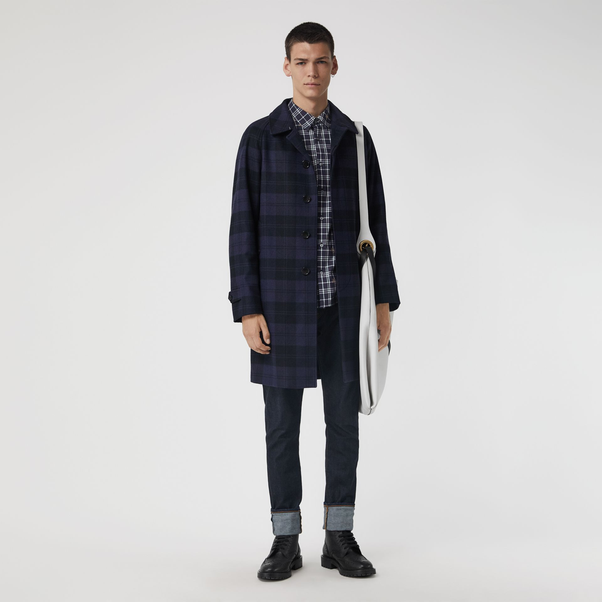 Equestrian Knight Check Cotton Shirt in Navy - Men | Burberry Australia - gallery image 4