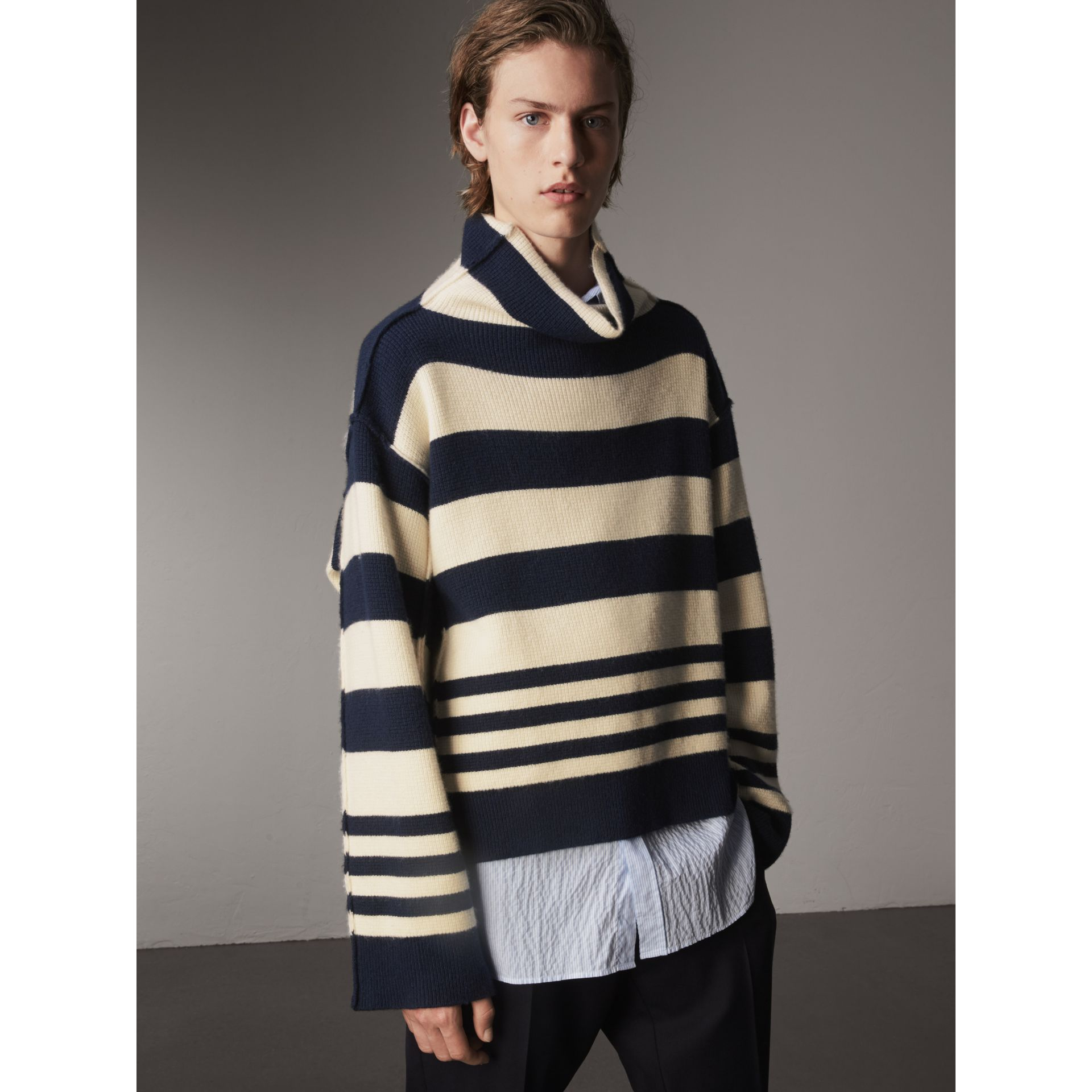 Striped Knitted Cashmere Roll-neck Sweater - Men | Burberry Australia - gallery image 5