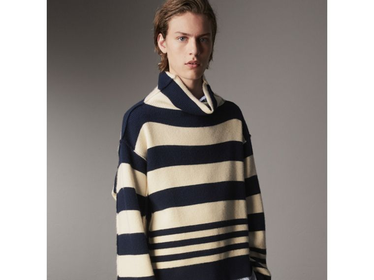 Striped Knitted Cashmere Roll-neck Sweater - Men | Burberry Australia - cell image 4