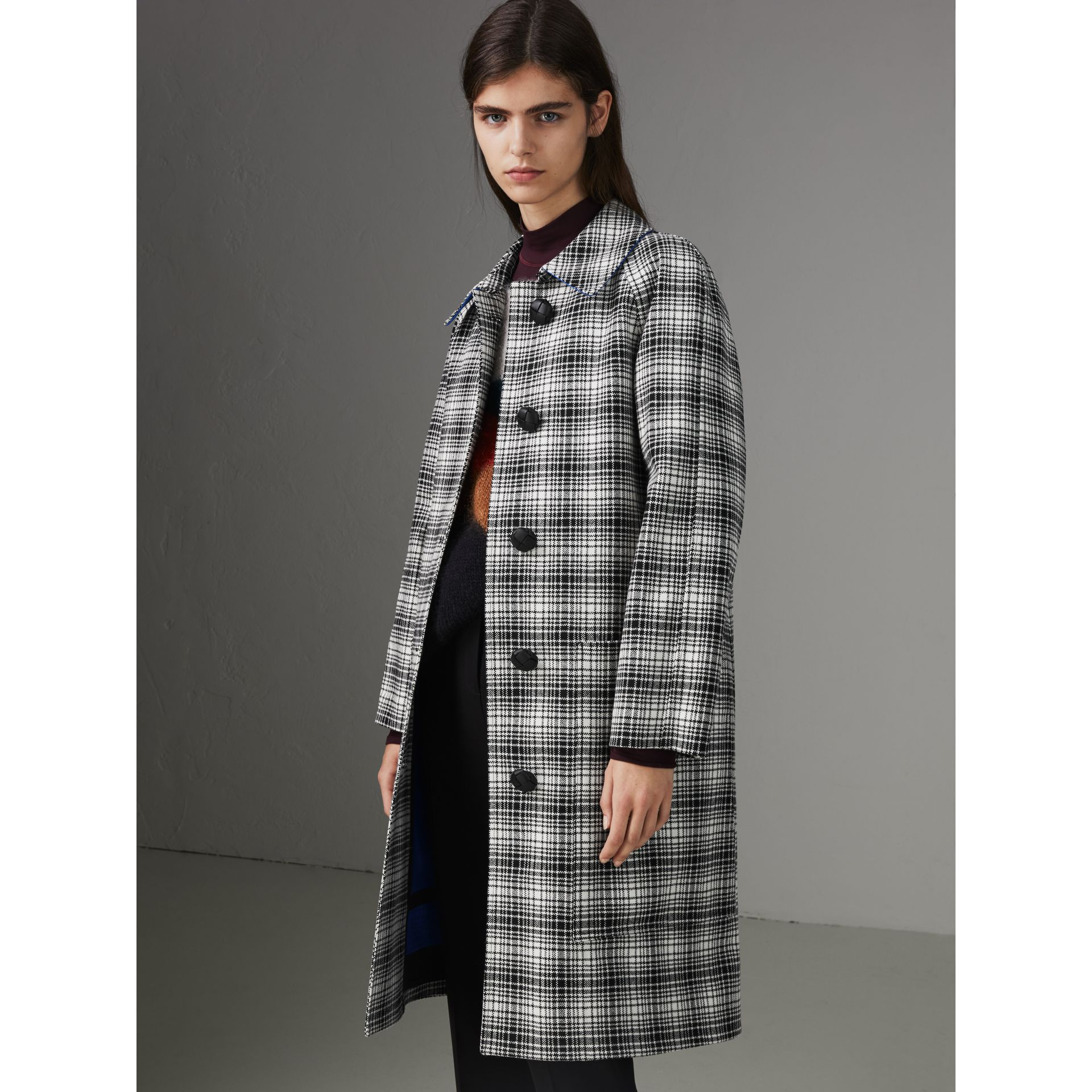 Check Wool Tailored Coat in Black/white - Women | Burberry Australia - gallery image 6