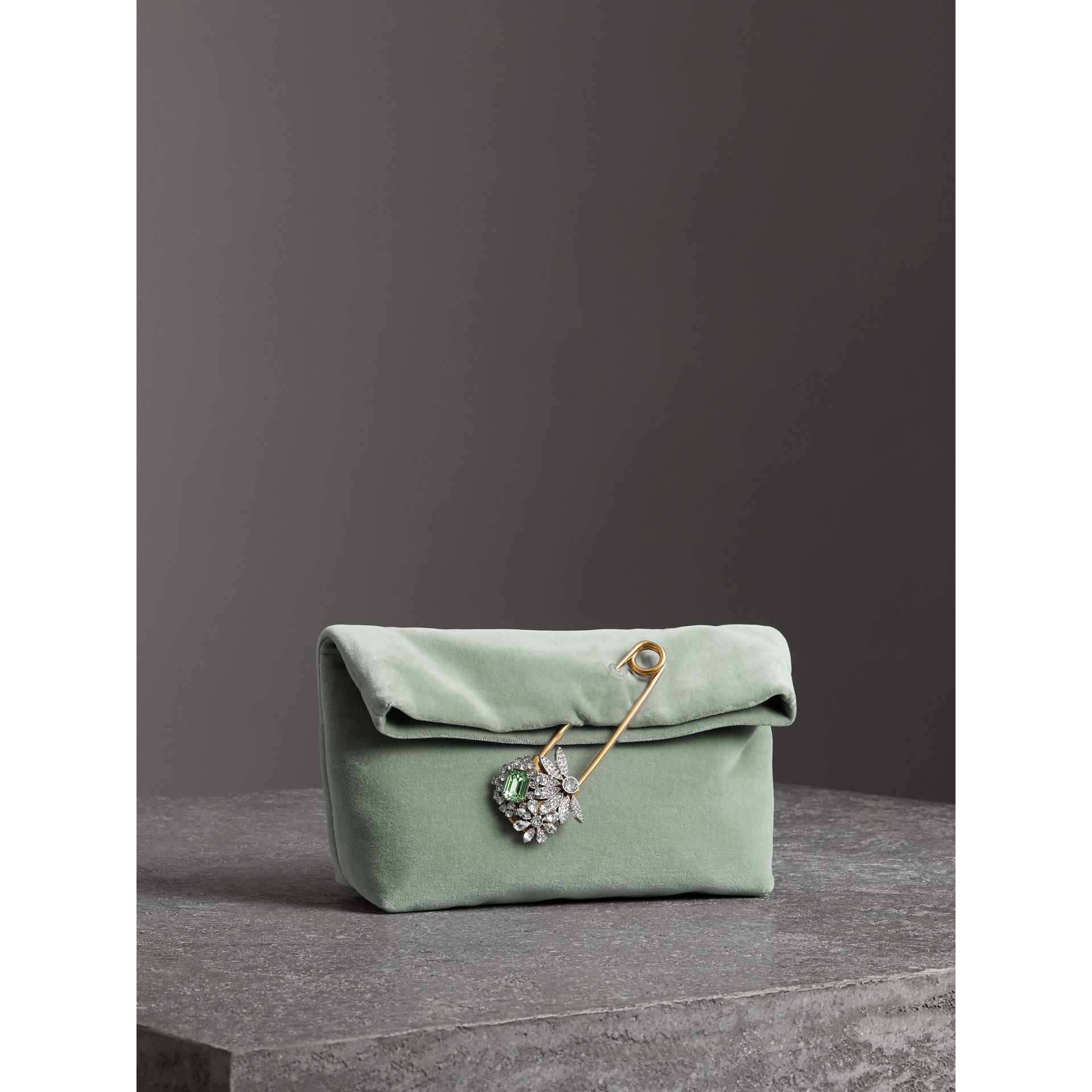 The Small Pin Clutch in Velvet in Grey Blue - Women | Burberry United Kingdom - gallery image 4