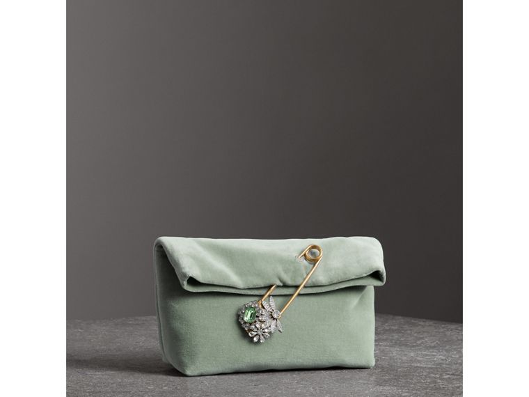 Petit clutch The Pin en velours (Gris Bleu) - Femme | Burberry - cell image 4
