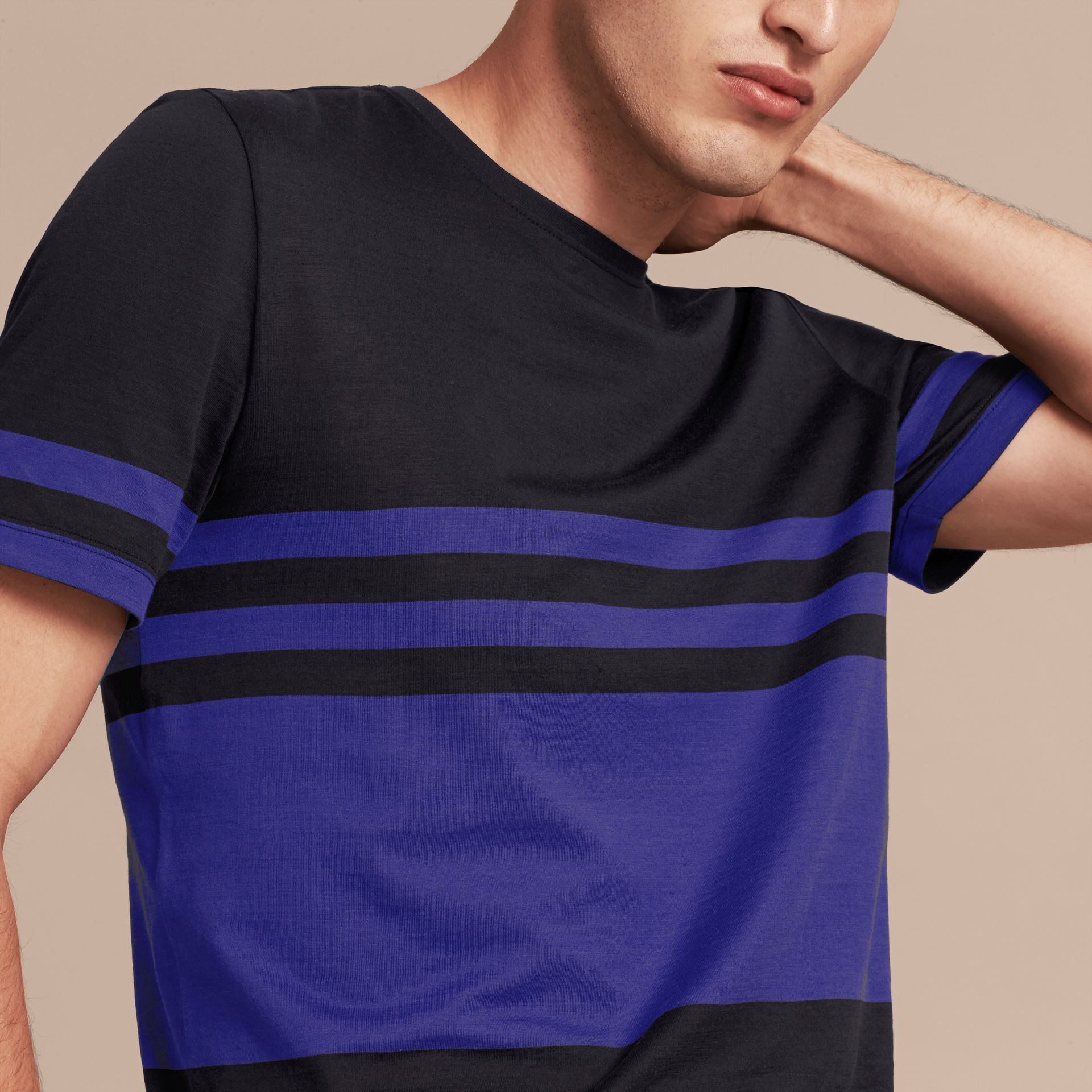 Navy Stripe Print Cotton T-shirt Navy - gallery image 5