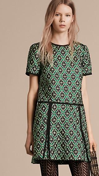 Patchwork Check Jacquard Dress