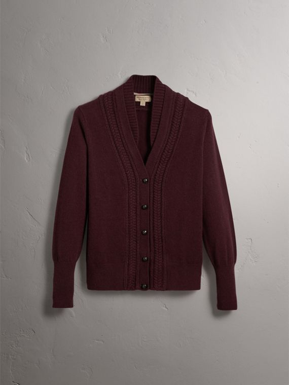 Cable Knit Detail Cashmere Cardigan in Deep Claret - Women | Burberry - cell image 3