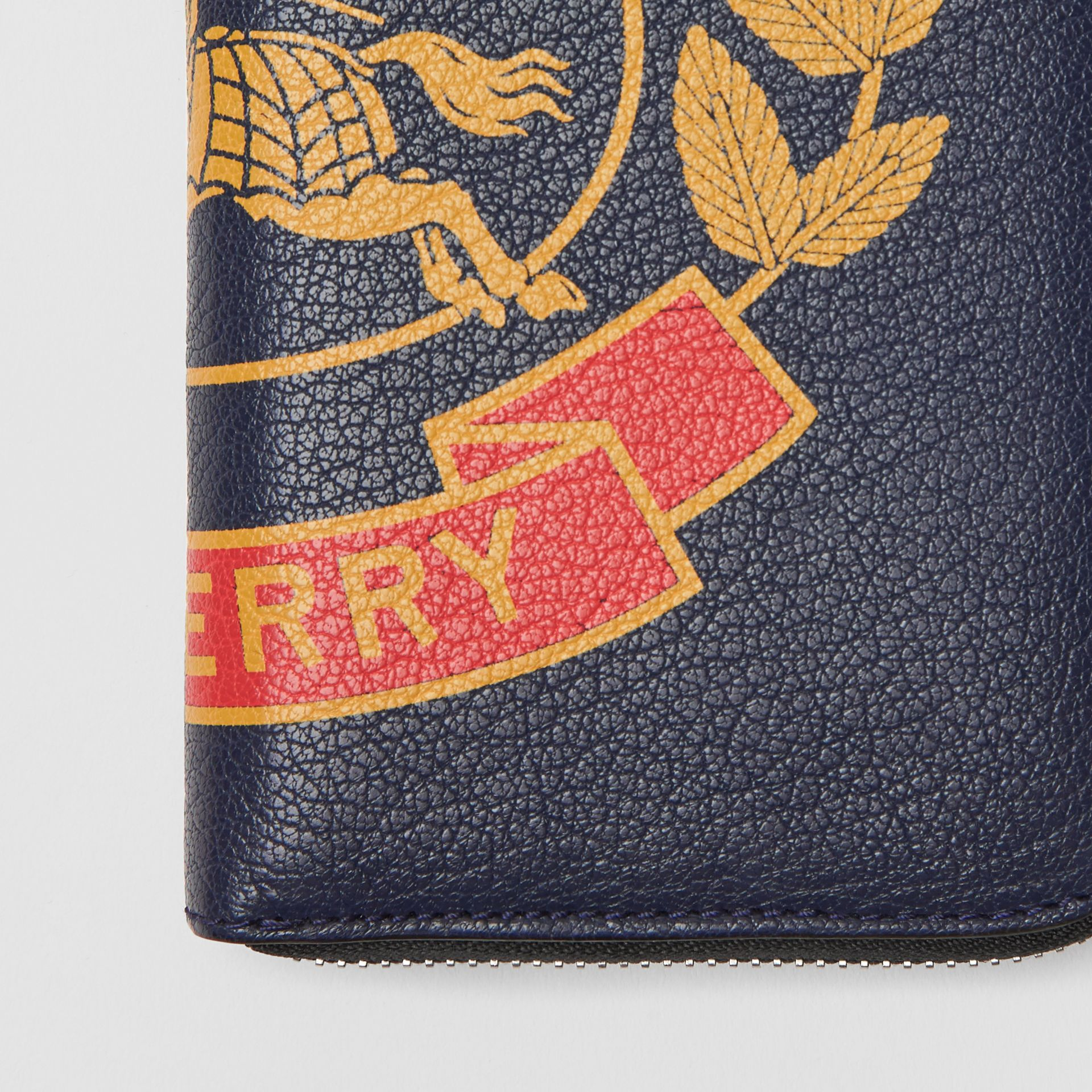 Crest Print Leather Ziparound Wallet in Storm Blue - Men | Burberry - gallery image 1