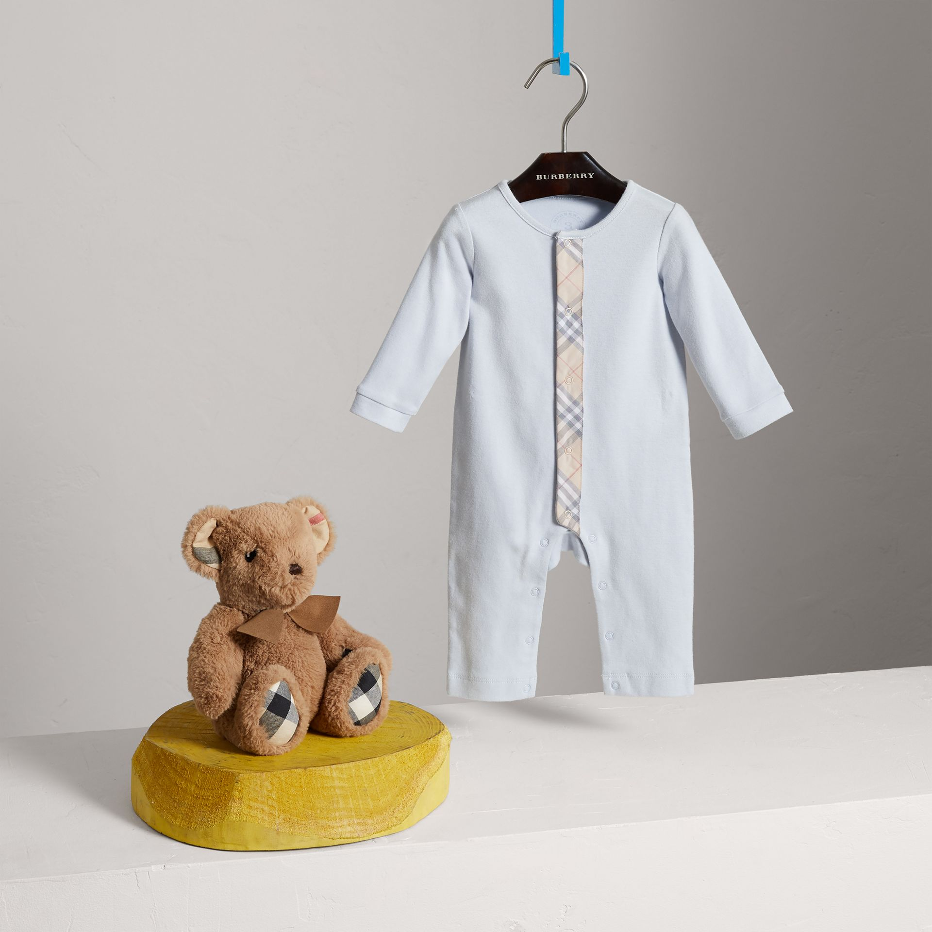 Check Trim Cotton Jumpsuit in Ice Blue - Children | Burberry United Kingdom - gallery image 2