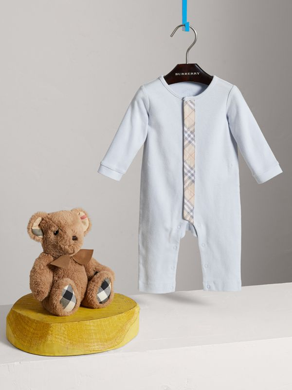 Check Trim Cotton Jumpsuit in Ice Blue - Children | Burberry - cell image 2