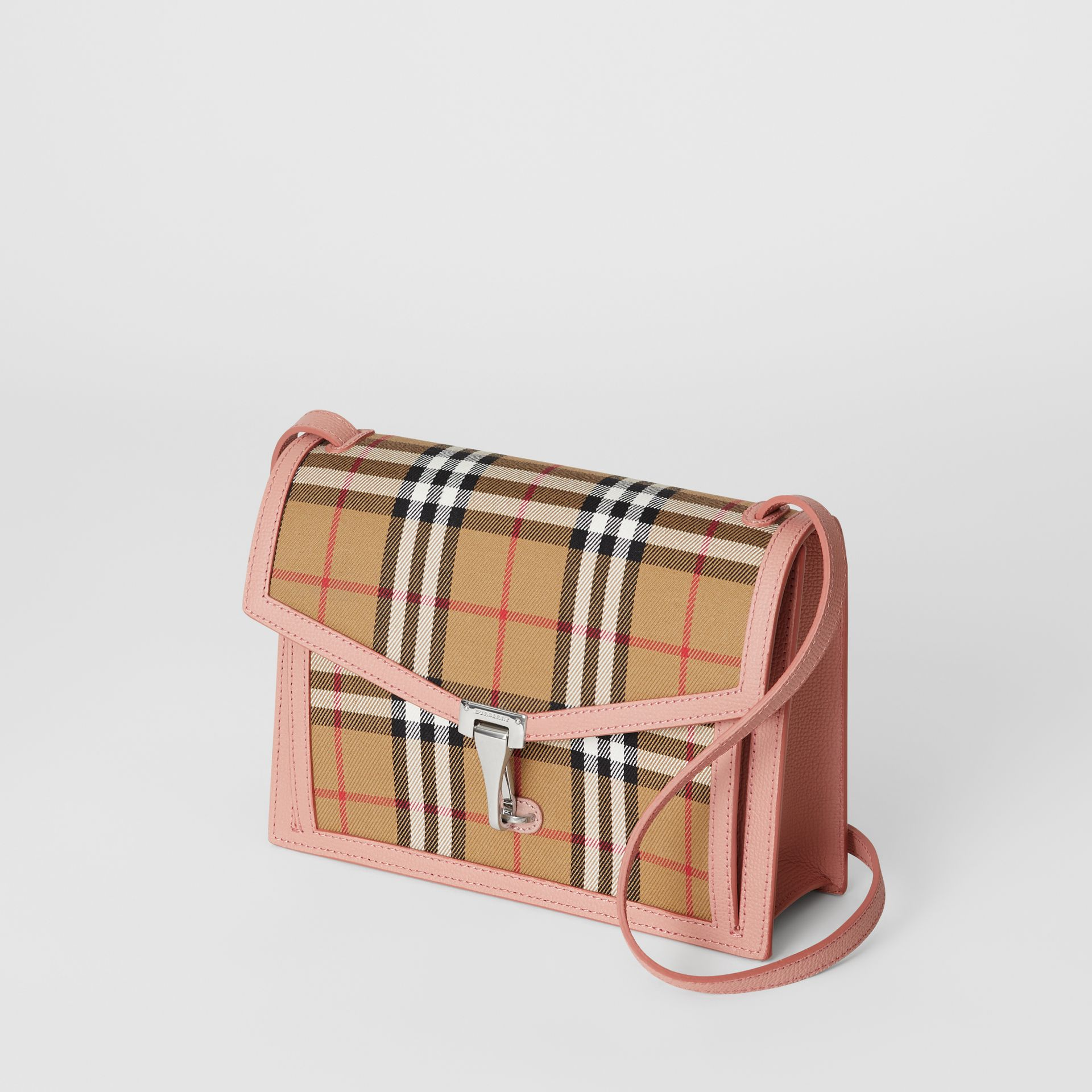 Small Vintage Check and Leather Crossbody Bag in Ash Rose - Women | Burberry Singapore - gallery image 4