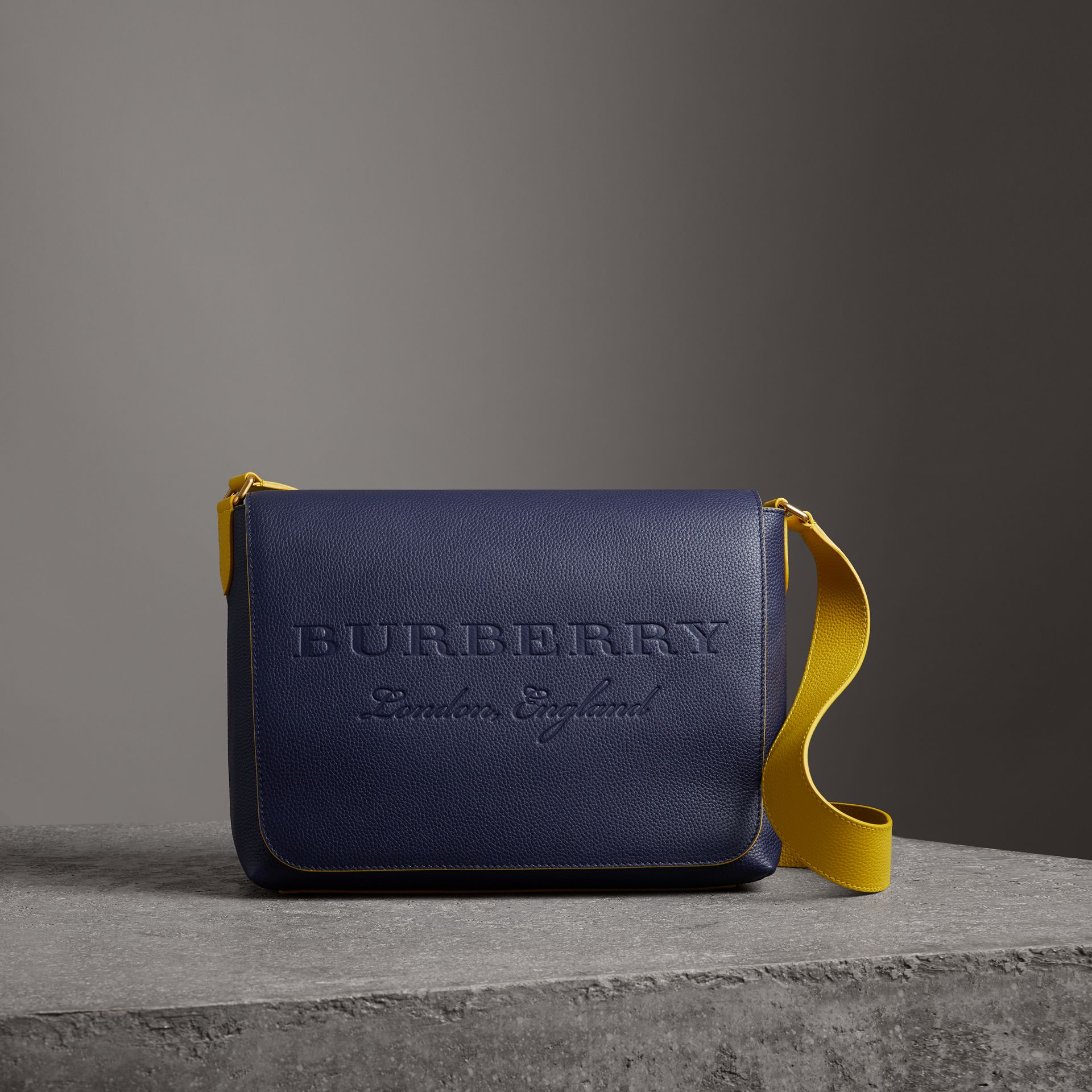 Large Two-tone Embossed Leather Messenger Bag in Regency Blue - Men | Burberry - gallery image 0