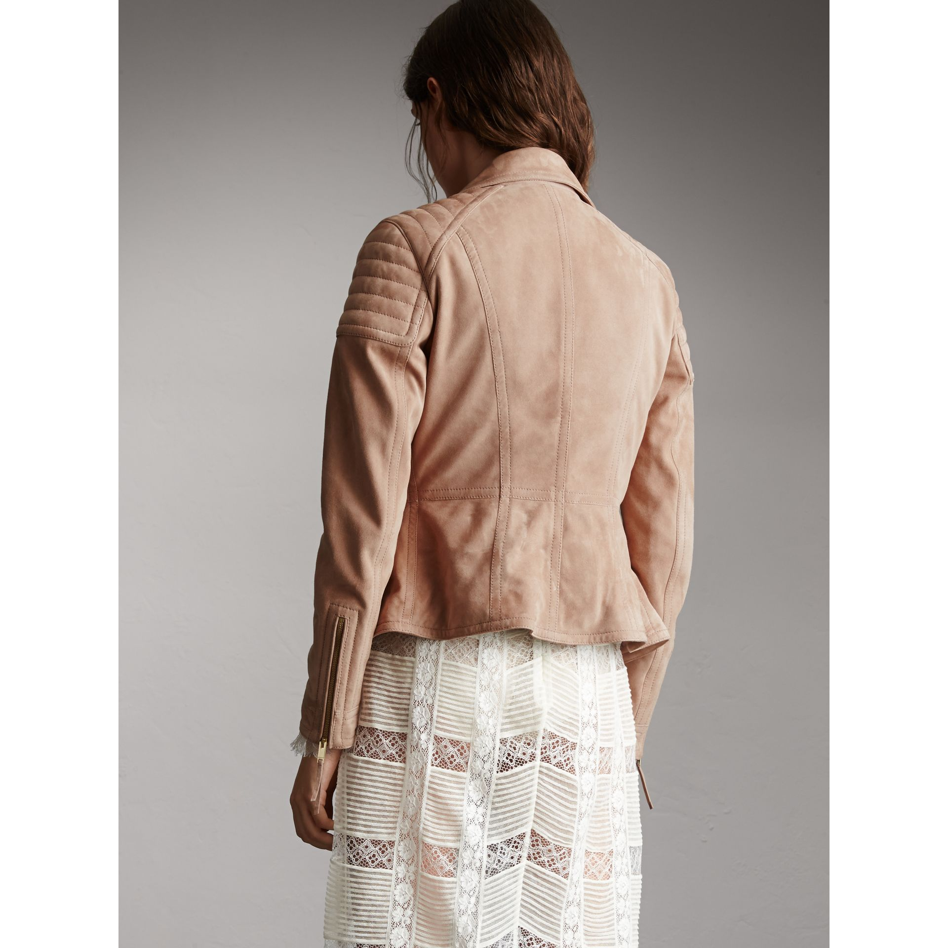 Ribbed Panel Suede Biker Jacket in Pale Antique Rose - Women | Burberry - gallery image 3